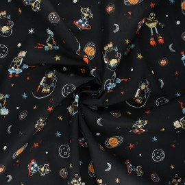 Poppy poplin cotton fabric - black Cool space vehicles x 10cm