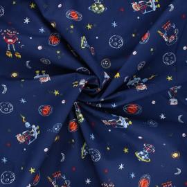 Poppy poplin cotton fabric - night blue Cool space vehicles x 10cm