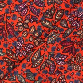 Cotton canvas fabric Thevenon - red Rainbow tree petit x 10cm