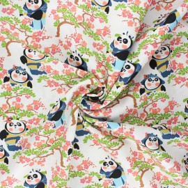 Tissu coton popeline Kung Fu Panda cerisier - blanc x 10cm