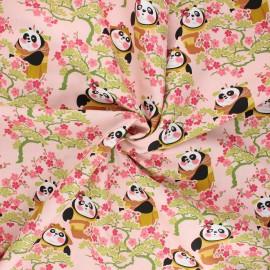 Tissu coton popeline Kung Fu Panda cerisier - rose clair x 10cm