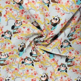 Tissu coton popeline Kung Fu Panda cerisier - gris clair x 10cm