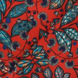 Cotton canvas fabric Thevenon - red Rainbow tree grand x 50cm