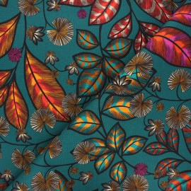 Cotton canvas fabric Thevenon - blue green Rainbow tree grand x 50cm