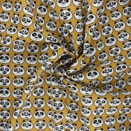 Poplin cotton fabric - mustard yellow Kung Fu Panda emotions x 10cm