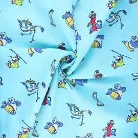 Poplin cotton fabric - turquoise Kung Fu Panda club x 10cm