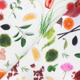 Cotton canvas fabric Thevenon - white Amanda x 50cm