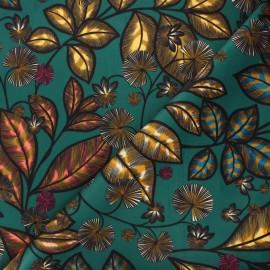 Tissu velours ras Thevenon Rainbow tree grand - vert bleu x 50cm
