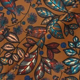 Tissu velours ras Thevenon Rainbow tree grand - caramel x 50cm