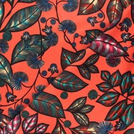 Tissu velours ras Thevenon Rainbow tree grand - orange corail x 50cm