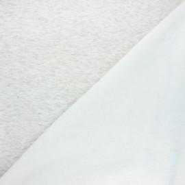 Tissu sweat envers minkee uni - écru chiné x 10cm