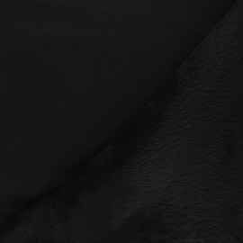 Tissu sweat envers minkee uni - noir x 10cm
