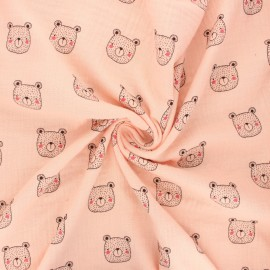 Tissu double gaze de coton Poppy Bear face - blush x 10cm