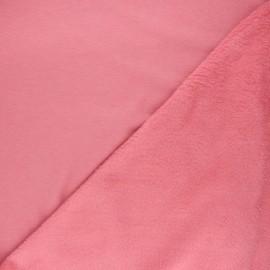Tissu sweat envers minkee uni - rose bonbon x 10cm