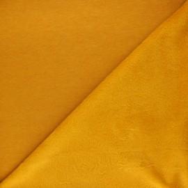 Tissu sweat envers minkee uni - jaune moutarde x 10cm