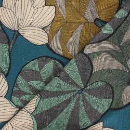 Tissu toile viscose lin Thevenon Idris - océan x 50cm