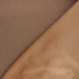 Tissu sweat envers minkee uni - camel x 10cm