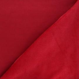 Tissu sweat envers minkee uni - rouge x 10cm