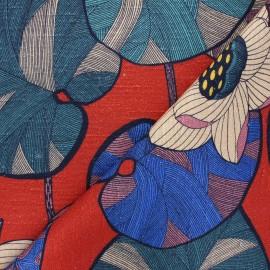 Tissu toile viscose lin Thevenon Idris - brique x 50cm