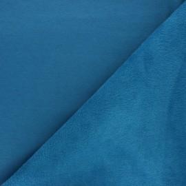 Tissu sweat envers minkee uni - bleu canard x 10cm