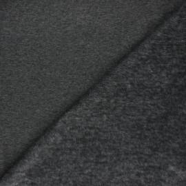 Tissu sweat envers minkee uni - gris anthracite chiné x 10cm