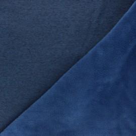 Tissu sweat envers minkee uni - bleu houle chiné x 10cm