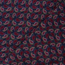 Tissu velours milleraies Paisley  - bleu nuit x 10cm