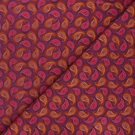 Milleraies velvet fabric - fig purple Paisley x 10cm