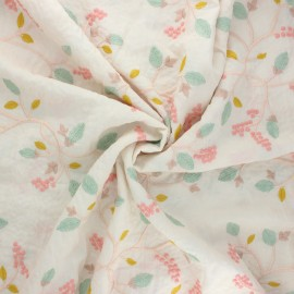 Embroidered viscose voile fabric - raw Emilie x 10cm