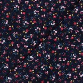 Tissu velours milleraies Wild flower - bleu nuit x 10cm
