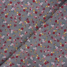 Tissu velours milleraies Wild flower - gris x 10cm