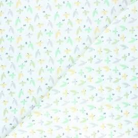 Tissu coton cretonne Pousse - vert x 10cm