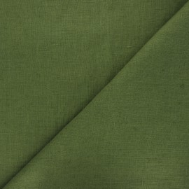 Thevenon washed linen fabric - khaki green x 10cm