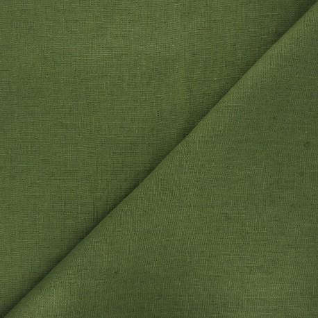 Thevenon washed linen fabric - khaki green x 10cm