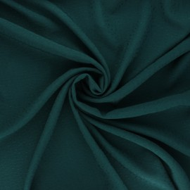 Viscose fabric with embroidered plumetis - pine green x 10cm