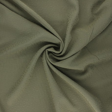 Viscose fabric with embroidered plumetis - khaki green x 10cm