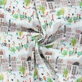 Poplin cotton fabric - off-white Montmartre 1 x 10cm