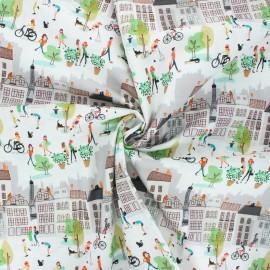 Tissu coton popeline Montmartre 1 - blanc cassé x 10cm