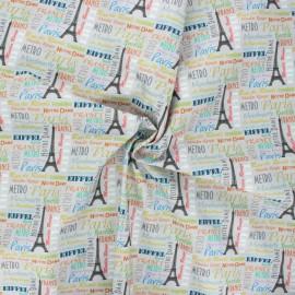 Tissu coton popeline Montmartre 3 - gris x 10cm