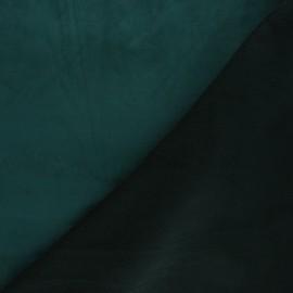 Suede fabric with fleece reverse - peacock green x 10cm