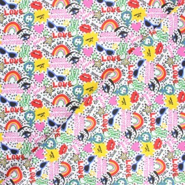 Cretonne cotton fabric - multicolor Chupa x 10cm