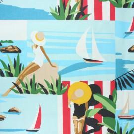 Coated cretonne cotton fabric - blue Sunshine x 10cm