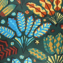 Coated cretonne cotton fabric - pine green Iroquois x 10cm