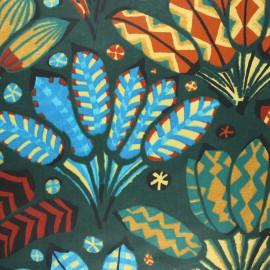 Tissu coton cretonne enduit Iroquois - vert sapin x 10cm