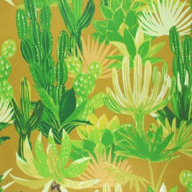 Coated cretonne cotton fabric - curry yellow Mojaves x 10cm