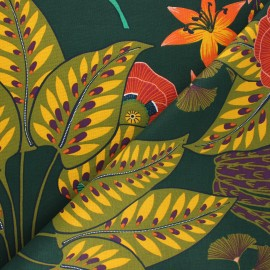Tissu toile de coton Majorelle - vert sapin x 10cm