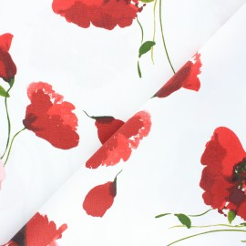 Tissu toile de coton Coquelicot - blanc x 10cm