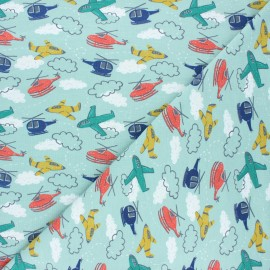 Poppy jersey fabric - sage green Race to the rescue x 10cm