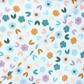 Poppy french terry fabric - white Flowers x 10cm