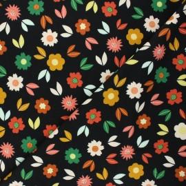 Poppy french terry fabric - black Flowers x 10cm